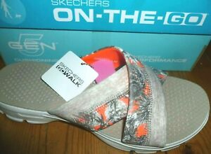 SKECHERS SANDALS GO WALK FIJI NATURAL/CORAL WOMENS NEW BOXED FREE UK POSTAGE