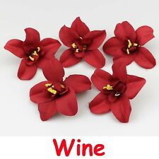 "50X3"" Bulk Burgundy Silk Artificial Orchid Flower Head Wedding Fake flower Decor"