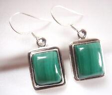 Malachite 925 Sterling Silver Dangle Drop Earrings Green Corona Sun Jewelry
