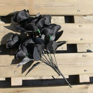 1~6PCS Artificial Black Rose Bouquet Fake Flower Rose Art Photography Decor #E18