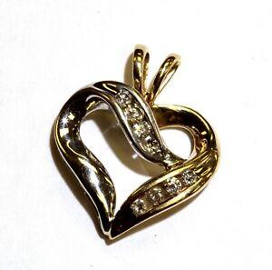 10k yellow white gold .14ct SI1 H diamond heart pendant charm 1.5g estate