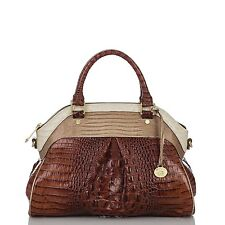 ❤️BRAHMIN LOUISE ROSE SATCHEL COQUETTE TRI COLOR PECAN SABLE CROC EMB LEATHER ❤