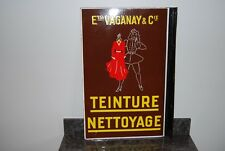 ANCIENNE PLAQUE EMAILLEE DOUBLE FACE.  TEINTURE NETTOYAGE. Ets VAGANAY.