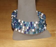 Mix of Blues White & Crystal Beaded Wrap / Coil Bracelet USA Made - Glass Beads