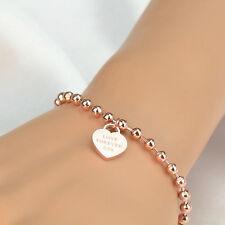 Stainless Steel Jewelry 18K Rose Gold  Love Heart Pendant Beads Chain Bracelet