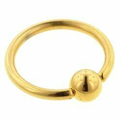 Gold Plated Ball Closure Ring - 1.6 x 10mm