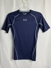 Under Armour Heat Gear Compression Short Sleeve Shirt Blue Mens Size Small