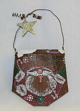 Rusted Tin Santa Bag Ornament Craft Primitive Painted Curled Tin Beaded w/ Star