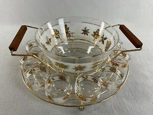 Vintage Starlyte Gold Leaf Punch Bowl With Wire Caddy and 10 Roly Poly Glasses