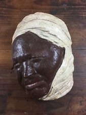 AMAZING VINTAGE PLASTER WALL BUST AFRICAN INDIAN MIDDLE EASTERN FIGURE 1940'S