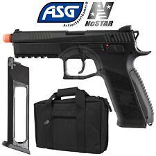 ASG Black CZ P-09 CO2 GBB Blowback Airsoft Pistol Extra Magazine and Case Bundle