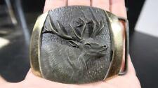 SL Knight Sculpture Solid Bronze Belt Buckle Elk Calling Out