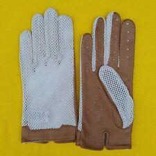 4e565b8bf Vintage Women's Large Tan Leather Crochet Driving Gloves Unworn 1950s /60s  /70s