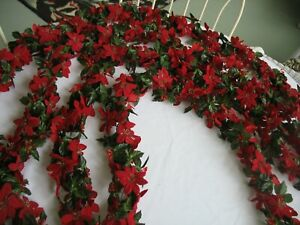 Vintage Lot of 4 Strands of Chain Silk Red Poinsettias Garland 20 Feet Total