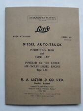 Lister Diesel Auto-Truck Instruction Book and Parts List Powered by Lister LD1