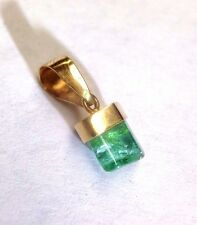 18K Yellow Gold Colombian Emerald Polished Rough Free Form Crystal Pendant