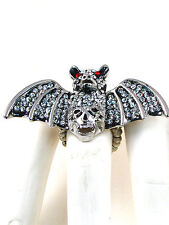 Silver Toned Clear Rhinestone Bat and Skull Stretch Ring