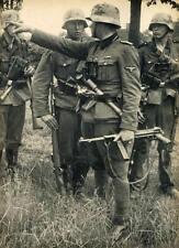 WWII B&W Photo German Soldiers MP40 Grenade  WW2 World War Two Wehrmacht  / 2073