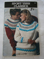 1978 Sport Yarn Classics Knit Pattern Book #271 Fair Isle Sweater Vest Pullover