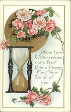 New Year Hourglass Hour Glass & Rose Series Whitney c1910 Postcard #4
