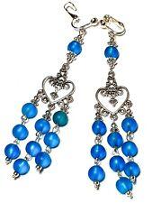 Turquoise Chandelier Earrings Long Clip-on Tibetan Silver Style Glass Bead Clip