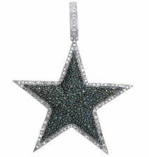 14K White Gold Blue Diamond Dallas Cowboys Star Logo Pendant 1.75Ct & 2 Inch