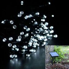 100 LED Lámpara Luz Energía Solar Hada Fiesta de Navidad jardín al aire libre de cadena blanco frío