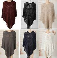Womens Poncho Stole Cape Shrug Wrap Shawl Jacket Jumper Sweater Crochet Cardigan