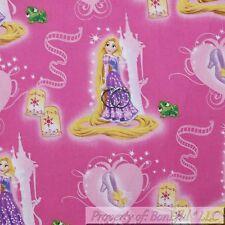 BonEful Fabric FQ Cotton Quilt Pink White Disney Princess Rapunzel Castle Girl L