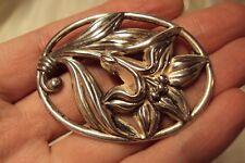 vintage Lily flower floral swirl design oval pin brooch sterling silver signed