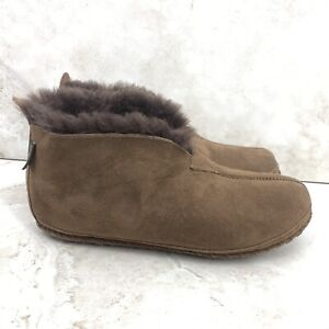 LL Bean Men 9 Slippers Wicked Good Dark Brown Suede Shearling Lined Bootie