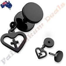316L Surgical Steel Black Ion Plated Fake Ear Plug With Heart Cross Dangle