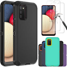 For Samsung Galaxy A02S Case Heavy Duty Shockproof Cover+Glass Screen Protector