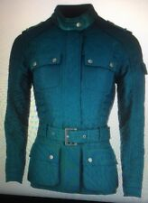 Barbour COAT International Vanier Leather Trim Belted Quilted Jacket 10US Teal