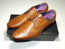 Mens UK Style Leather Lining Formal Office Wedding Smart Work Brogue Shoes Tan UK 11 / EU 45