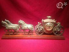 1953 United Clock Co. Cast Metal Horse and Carriage on Wood Mantle Clock
