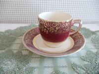 Aristocrat Demi Cup and Saucer by SALEM with Burgendy and 23 Karat Gold