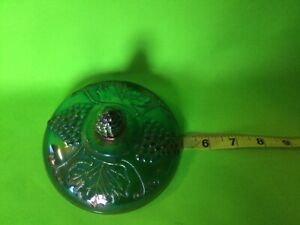 LID Vintage Indiana Carnival Glass Canister Jar Grapes Green Purple