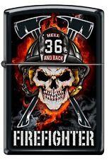 """Firefighter Zippo """"To Hell and Back"""" Black Matte Skull Zippo Lighter"""