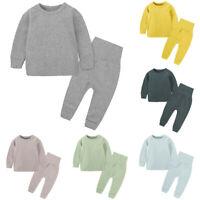2pcs Toddler Baby Kids Girls Boy Solid T-shirt Tops Pant Pajamas Sleepwear Set K