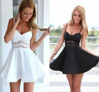 New UK Womens Holiday Lace Strappy Sundress Summer Beach Party Skater Mini Dress