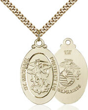 Men's 14K Gold Filled St Michael Marines Military Catholic Medal Necklace