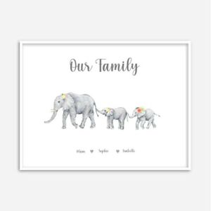 A4 Personalised Our Family Elephant Print - Gift / Mother's Day