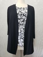 Alfred Dunner Women's LARGE Black Knit top w/Tiered Ruffle Shell 3/4 sleeve