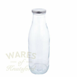 Wide Neck Juice Glass Bottles, 750ml, Silver Lid, Pack 6, Cordial, New *