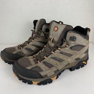 Men's Size 12 Merrell Moab 2 Vent Mid Vibram Hiking Boots Shoes Walnut J06045