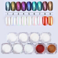 HO_ HD_ 9 Colors Mirror Powder Glitter Nail Beauty Art Pigment Manicure with Bru