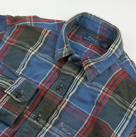 Ralph Lauren Blanket Shirt Mens Size M Medium Long Sleeve Plaid Check Cotton