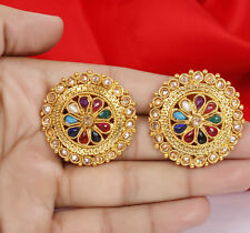 Indian Bollywood 18k Gold plated Multi Color AD Stud Tops Earring Bridal Jewelry