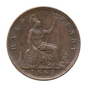 KM# 748 - Halfpenny - 1/2 - F289 (7+G) - Victoria - Great Britain 1862 (EF)